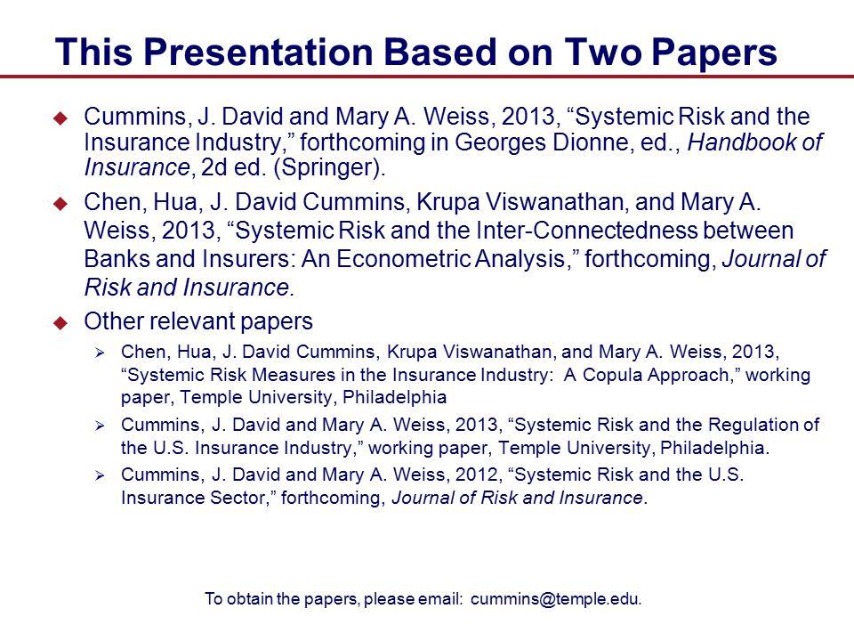Measuring Systemic Risk: Methodologies  Huang et al.