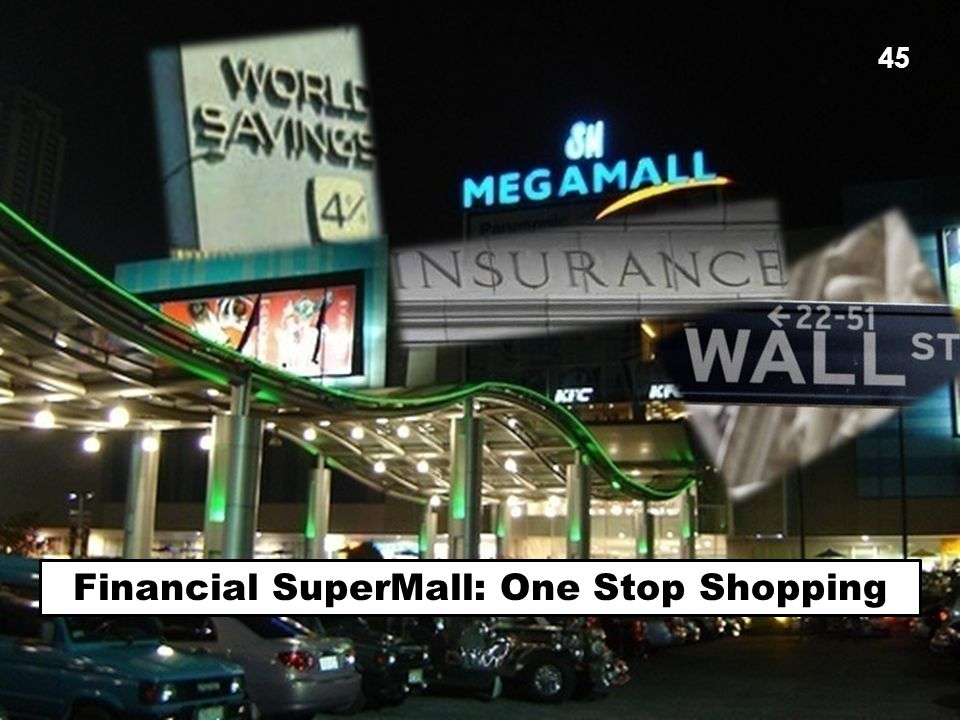 CPEG Economic Crisis Workshop - Barclay 45 Financial SuperMall: One Stop Shopping 45