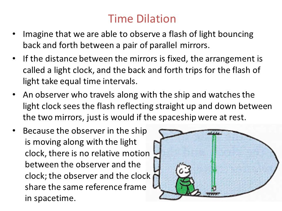 Time Dilation Imagine that we are able to observe a flash of light bouncing back and forth between a pair of parallel mirrors. If the distance between