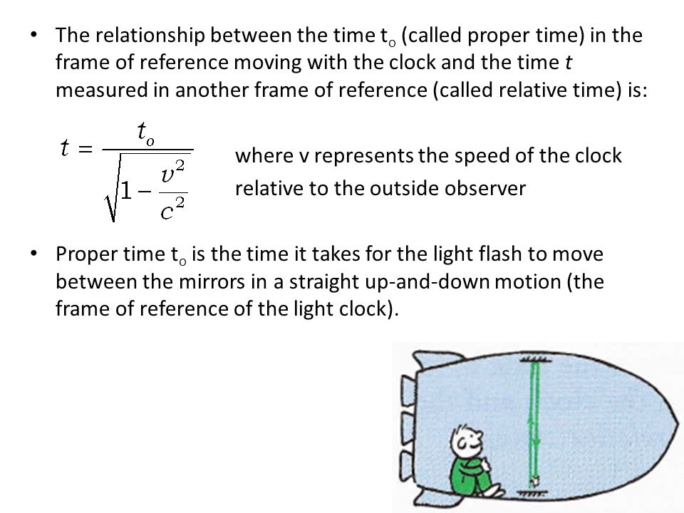 The relationship between the time t o (called proper time) in the frame of reference moving with the clock and the time t measured in another frame of