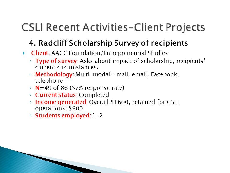 4. Radcliff Scholarship Survey of recipients  Client: AACC Foundation/Entrepreneurial Studies ◦ Type of survey: Asks about impact of scholarship, rec