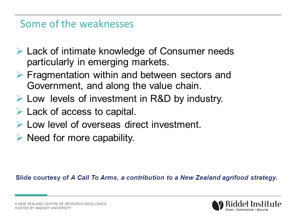 Some of the weaknesses  Lack of intimate knowledge of Consumer needs particularly in emerging markets.
