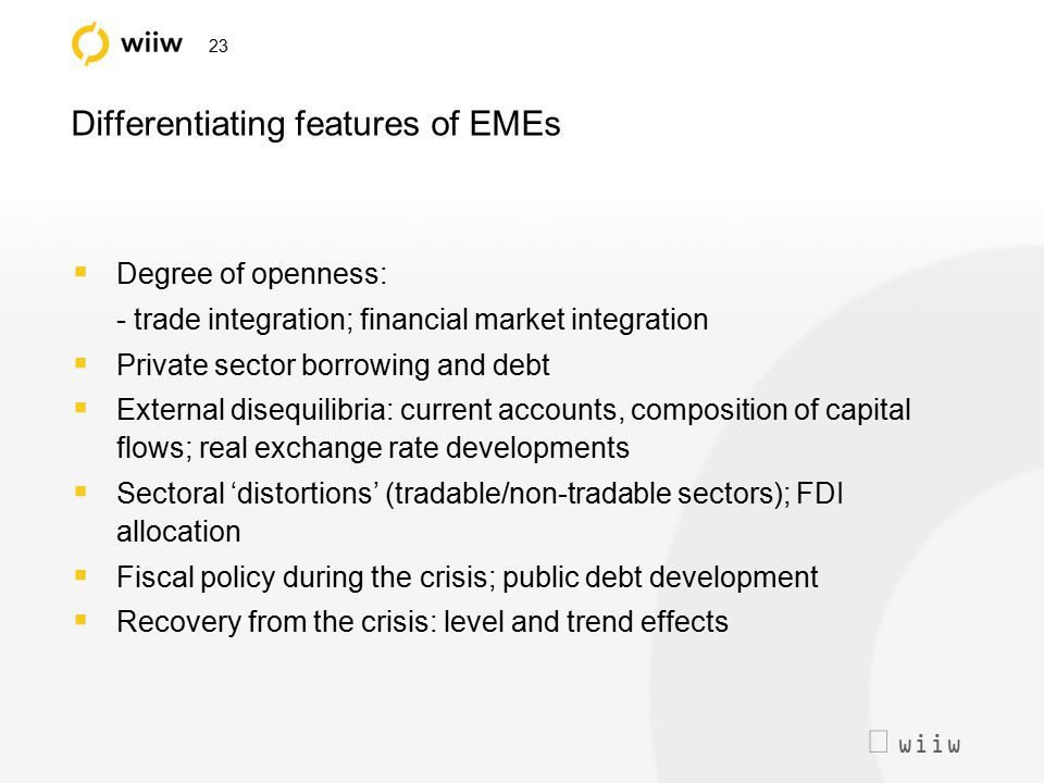  wiiw 23 Differentiating features of EMEs  Degree of openness: - trade integration; financial market integration  Private sector borrowing and deb