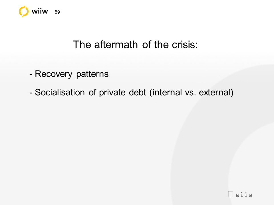  wiiw 59 The aftermath of the crisis: - Recovery patterns - Socialisation of private debt (internal vs. external)