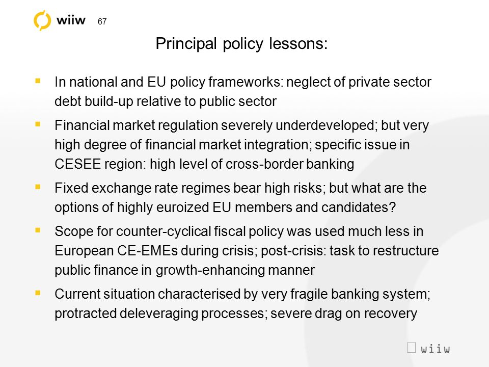  wiiw 67 Principal policy lessons:  In national and EU policy frameworks: neglect of private sector debt build-up relative to public sector  Finan