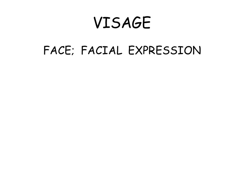 VISAGE FACE; FACIAL EXPRESSION