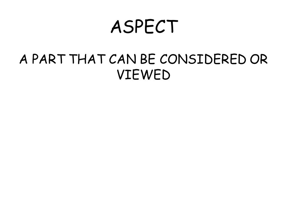 ASPECT A PART THAT CAN BE CONSIDERED OR VIEWED