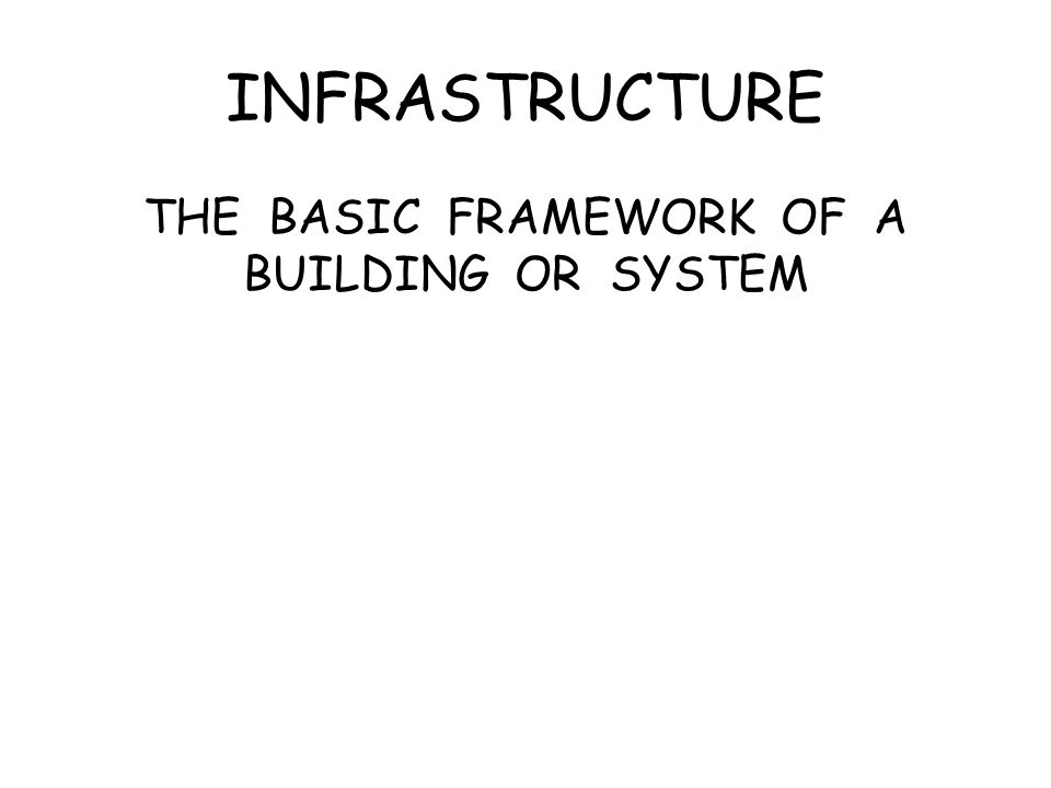 INFRASTRUCTURE THE BASIC FRAMEWORK OF A BUILDING OR SYSTEM
