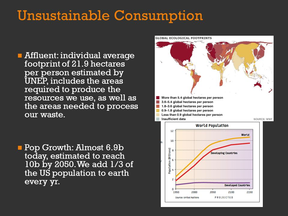 Unsustainable Consumption Affluent: individual average footprint of 21.9 hectares per person estimated by UNEP, includes the areas required to produce