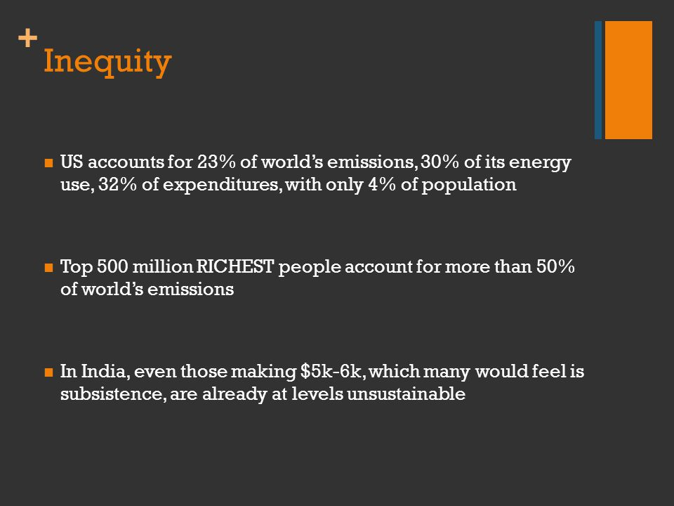 + Inequity US accounts for 23% of world's emissions, 30% of its energy use, 32% of expenditures, with only 4% of population Top 500 million RICHEST pe