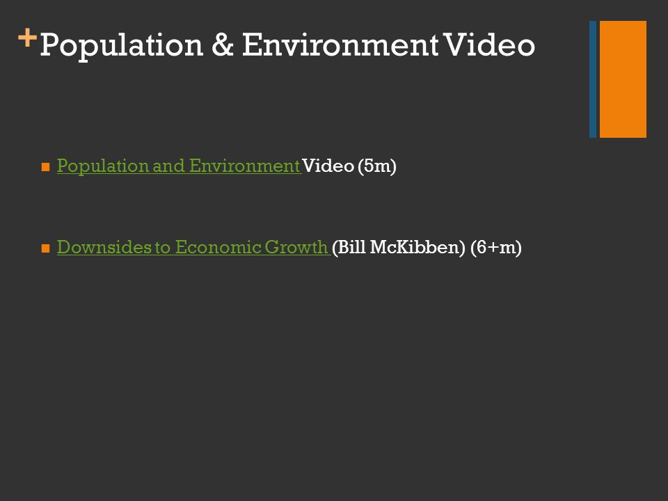 + Population & Environment Video Population and Environment Video (5m) Population and Environment Downsides to Economic Growth (Bill McKibben) (6+m) D