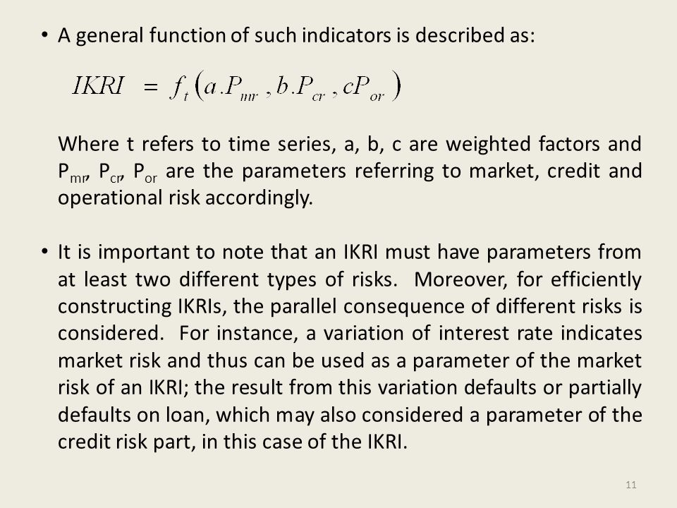 A general function of such indicators is described as: Where t refers to time series, a, b, c are weighted factors and P mr, P cr, P or are the parameters referring to market, credit and operational risk accordingly.