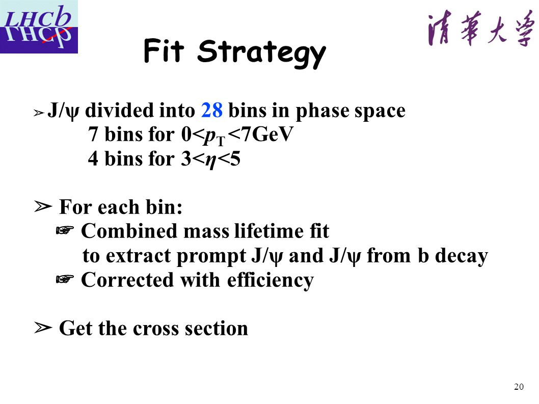 Fit Strategy ➢ J/ψ divided into 28 bins in phase space 7 bins for 0<p T <7GeV 4 bins for 3<η<5 ➢ For each bin: ☞ Combined mass lifetime fit to extract prompt J/ψ and J/ψ from b decay ☞ Corrected with efficiency ➢ Get the cross section 20