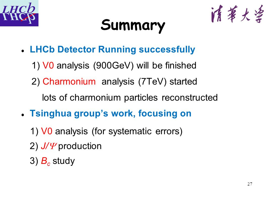 27 Summary LHCb Detector Running successfully 1) V0 analysis (900GeV) will be finished 2) Charmonium analysis (7TeV) started lots of charmonium particles reconstructed Tsinghua group's work, focusing on 1) V0 analysis (for systematic errors) 2) J/  production 3) B c study