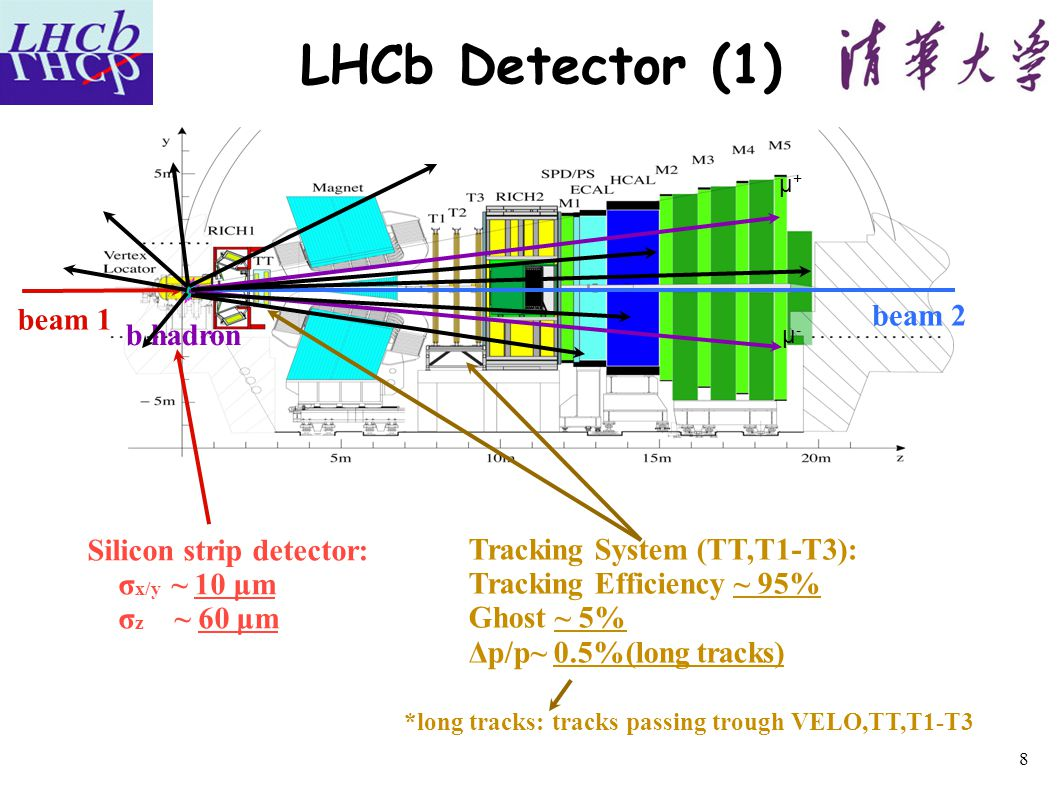 LHCb Detector (1) μ+μ+ μ-μ- b hadron Tracking System (TT,T1-T3): Tracking Efficiency ~ 95% Ghost ~ 5% Δp/p~ 0.5%(long tracks) Silicon strip detector: σ x/y ~ 10 μm σ z ~ 60 μm beam 2 *long tracks: tracks passing trough VELO,TT,T1-T3 beam 1 8