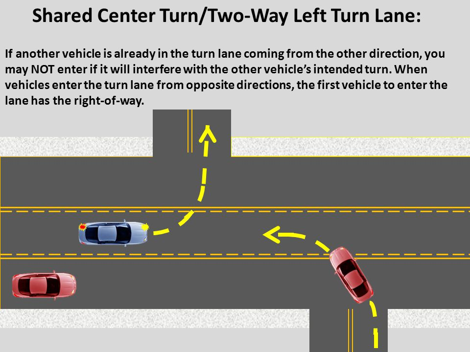 If another vehicle is already in the turn lane coming from the other direction, you may NOT enter if it will interfere with the other vehicle's intend