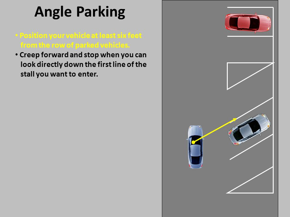 Position your vehicle at least six feet from the row of parked vehicles. Angle Parking Creep forward and stop when you can look directly down the firs