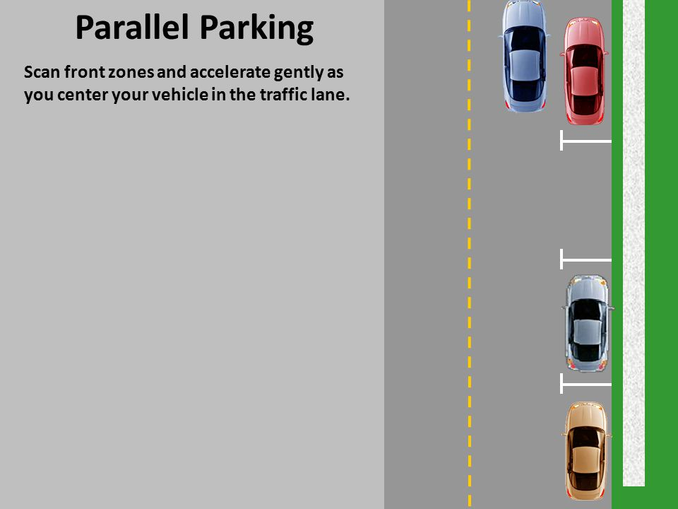 Parallel Parking Scan front zones and accelerate gently as you center your vehicle in the traffic lane.