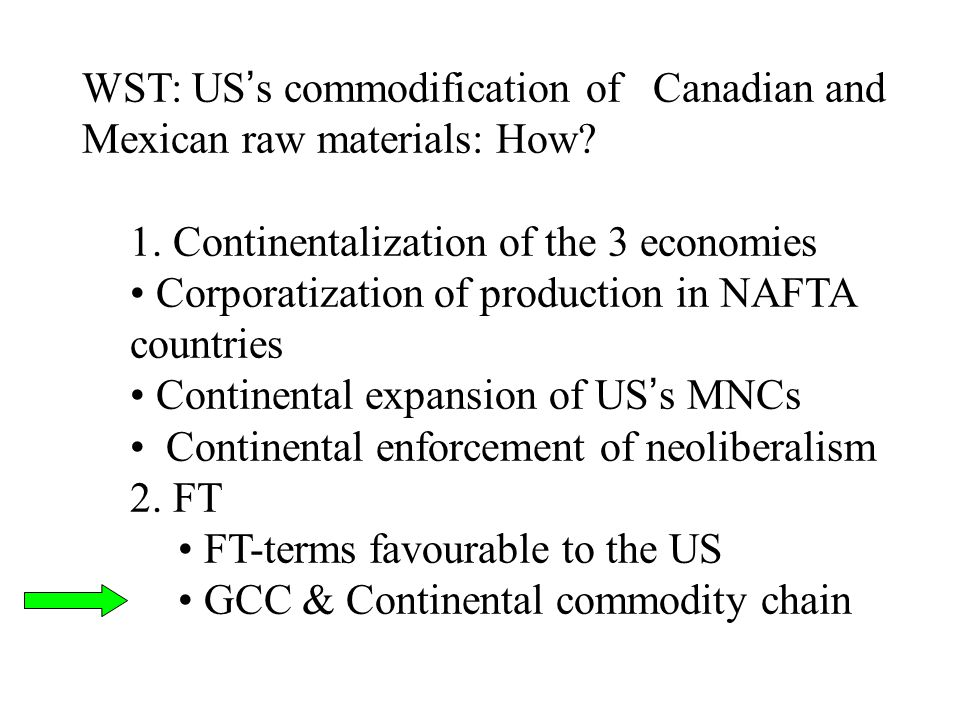 WST: US's commodification of Canadian and Mexican raw materials: How? 1. Continentalization of the 3 economies Corporatization of production in NAFTA