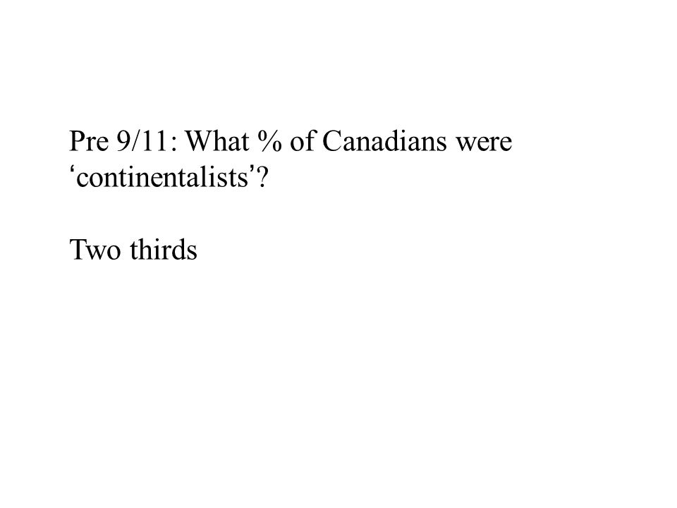 Pre 9/11: What % of Canadians were 'continentalists' Two thirds
