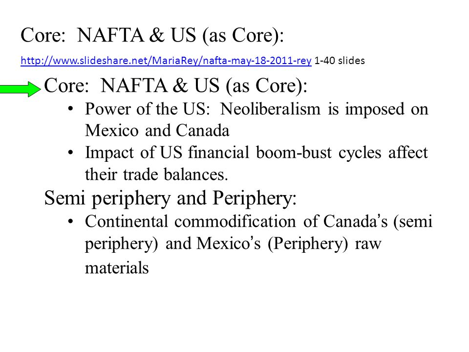 Core: NAFTA & US (as Core): Power of the US: Neoliberalism is imposed on Mexico and Canada Impact of US financial boom-bust cycles affect their trade