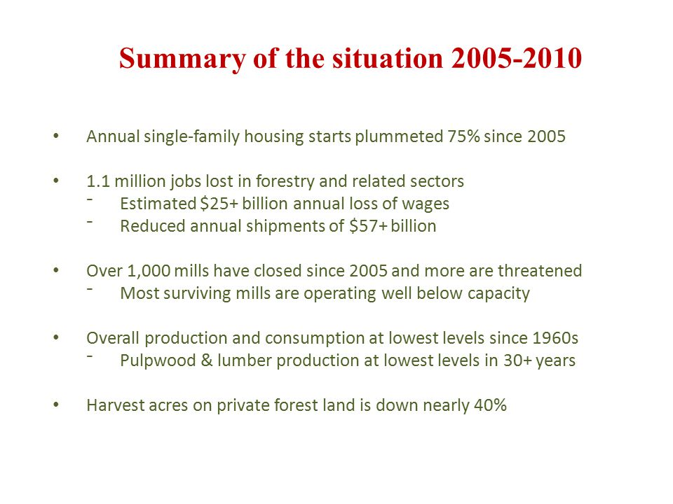 Encouraging signals emerging Forestry and related sector job losses have slowed The number of single-family housing starts remains low but stable Multi-family housing starts up sharply 2010 showed an increase in wood related production and shipment Wood use for nonresidential energy is only 6% below 20-year average levels Overall industrial GDP is rising and the trade balance in combined pulp, paper and sawmill products is up from -$11.7 billion in 2005 to +$1.3 billion in 2010 with prospects for further improvement Source: International Trade Association (ITA)