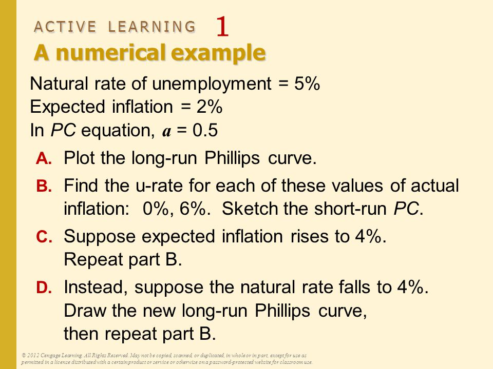 ACTIVE LEARNING A numerical example ACTIVE LEARNING 1 A numerical example Natural rate of unemployment = 5% Expected inflation = 2% In PC equation, a