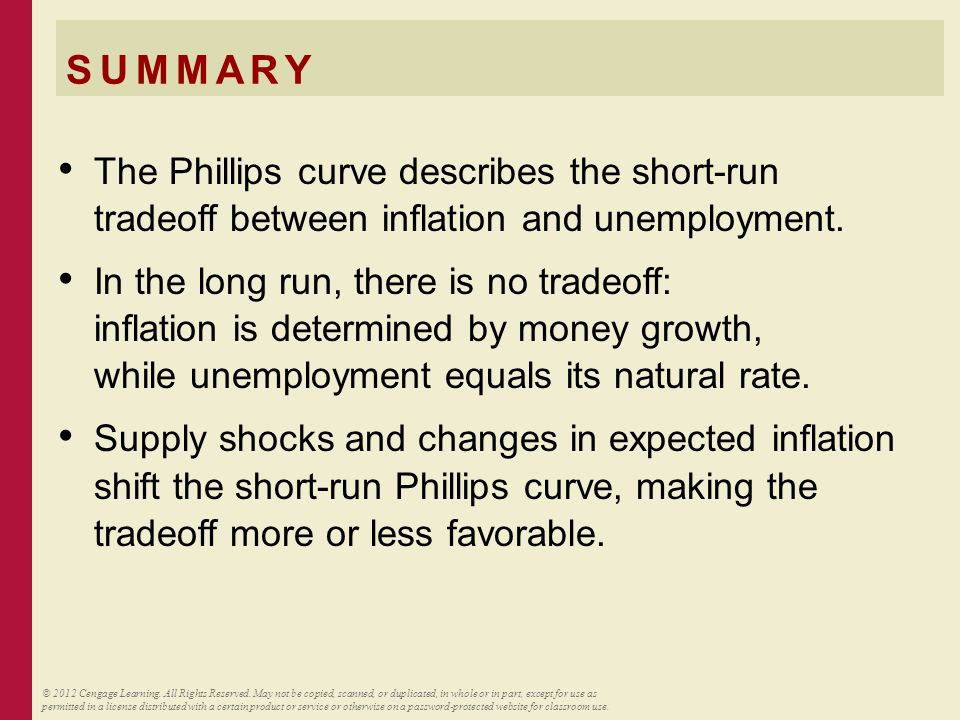 SUMMARY The Phillips curve describes the short-run tradeoff between inflation and unemployment. In the long run, there is no tradeoff: inflation is de