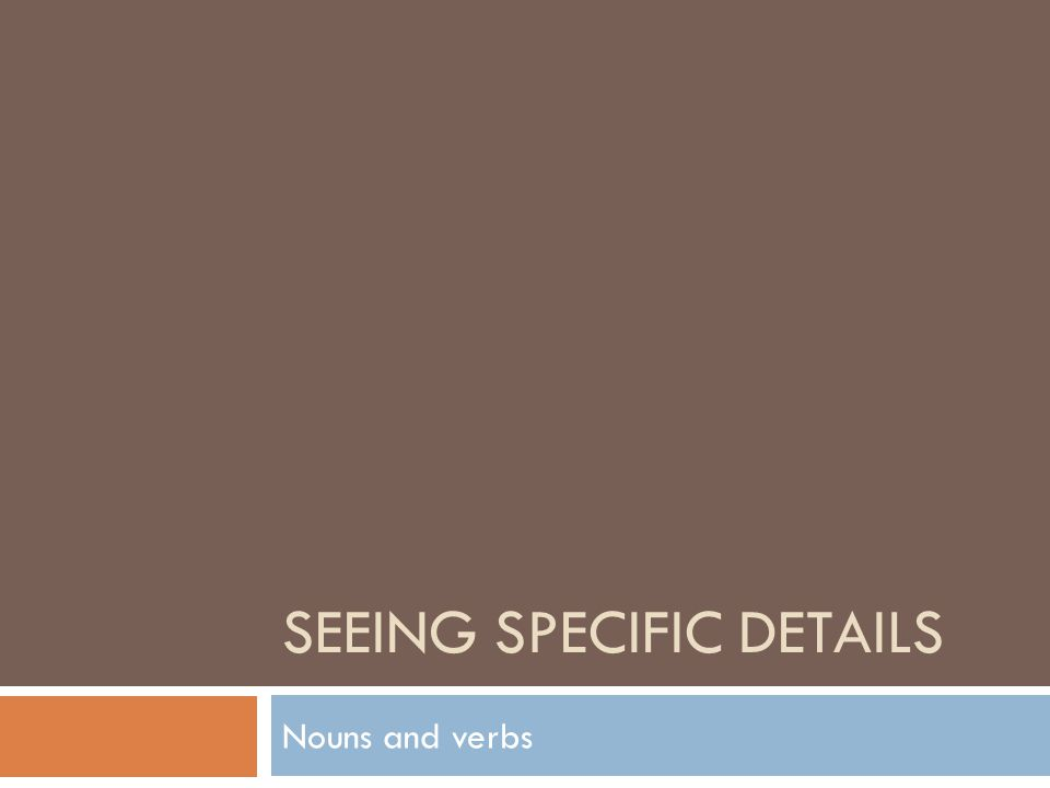 SEEING SPECIFIC DETAILS Nouns and verbs