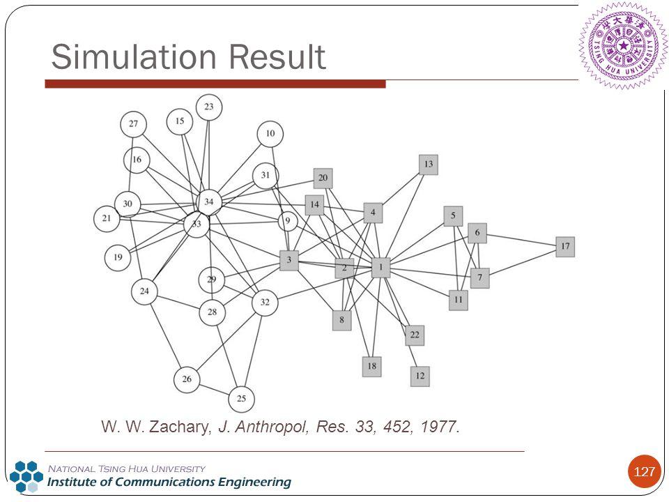 127 Simulation Result W. W. Zachary, J. Anthropol, Res. 33, 452, 1977.