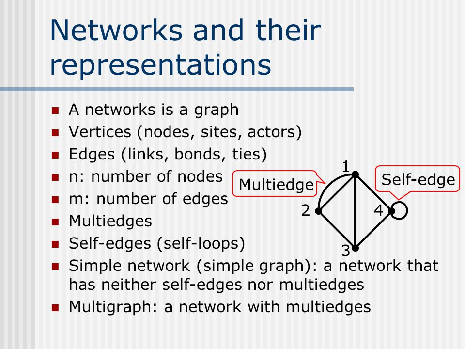 Networks and their representations A networks is a graph Vertices (nodes, sites, actors) Edges (links, bonds, ties) n: number of nodes m: number of ed