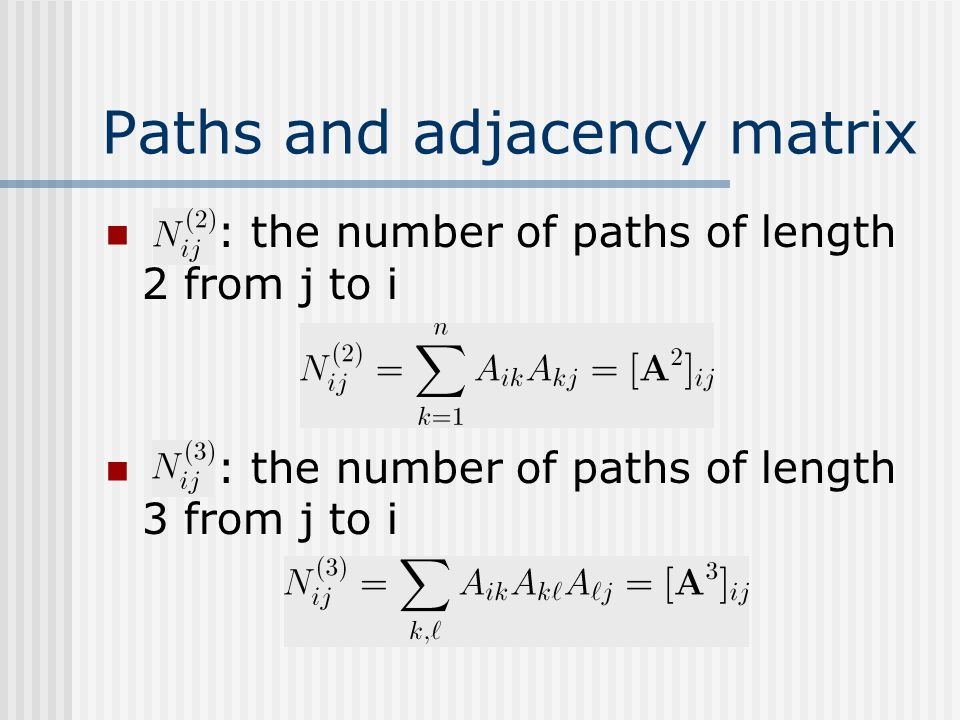 Paths and adjacency matrix : the number of paths of length 2 from j to i : the number of paths of length 3 from j to i