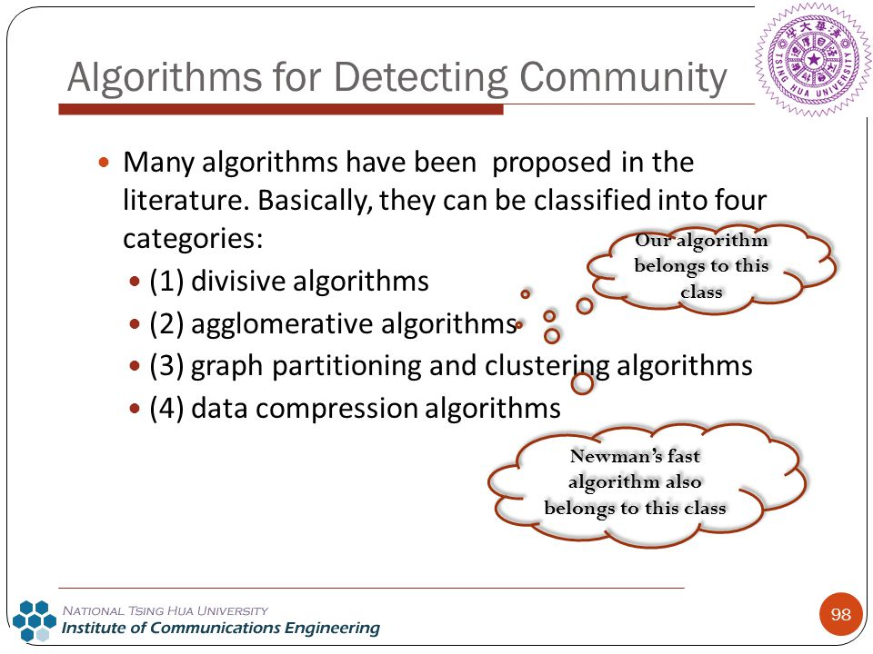 98 Algorithms for Detecting Community Many algorithms have been proposed in the literature. Basically, they can be classified into four categories: (1