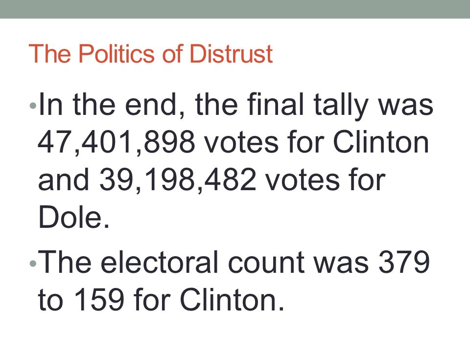 The Politics of Distrust In the end, the final tally was 47,401,898 votes for Clinton and 39,198,482 votes for Dole. The electoral count was 379 to 15