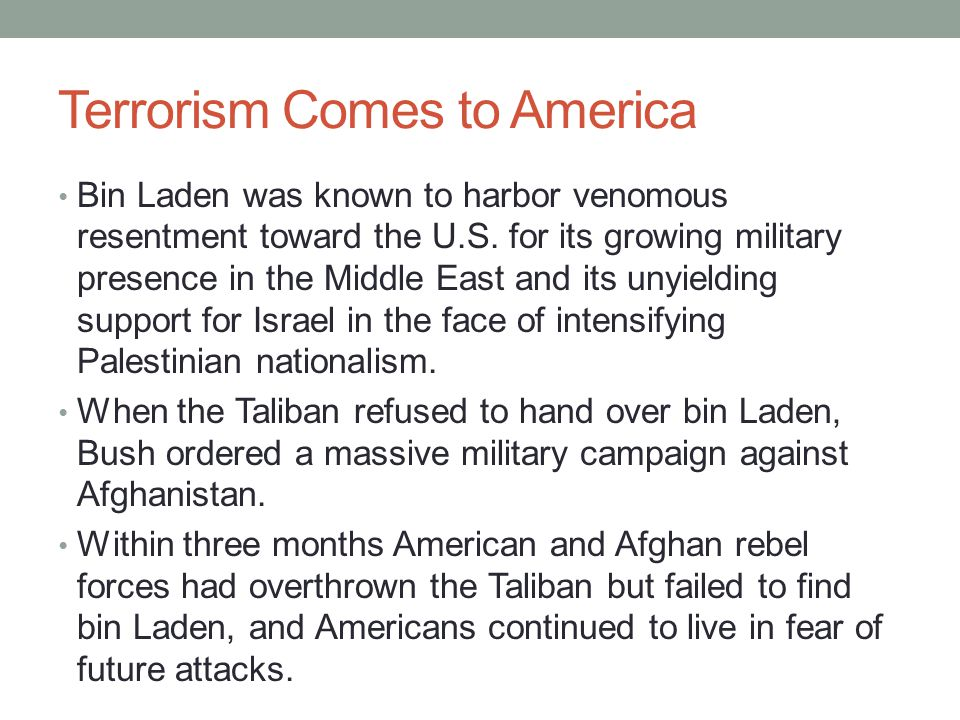 Terrorism Comes to America The terrorists' blows diabolically coincided with the onset of a recession.