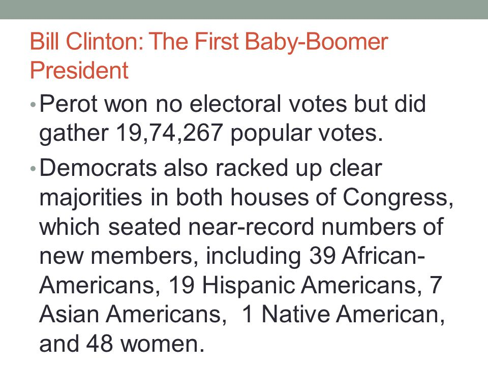 Bill Clinton: The First Baby-Boomer President Perot won no electoral votes but did gather 19,74,267 popular votes. Democrats also racked up clear majo
