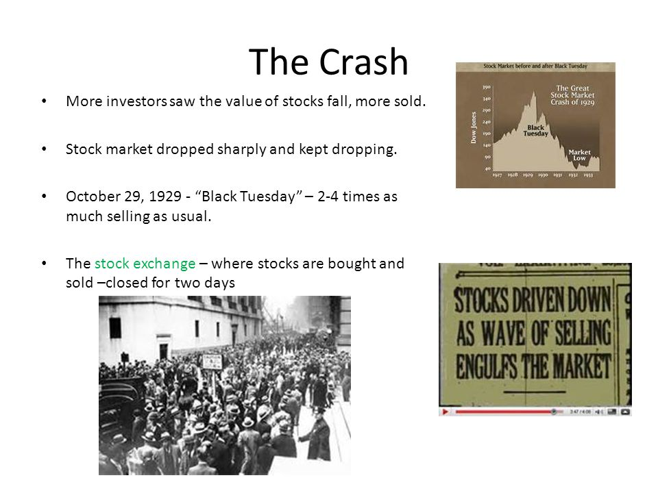 The Crash More investors saw the value of stocks fall, more sold.