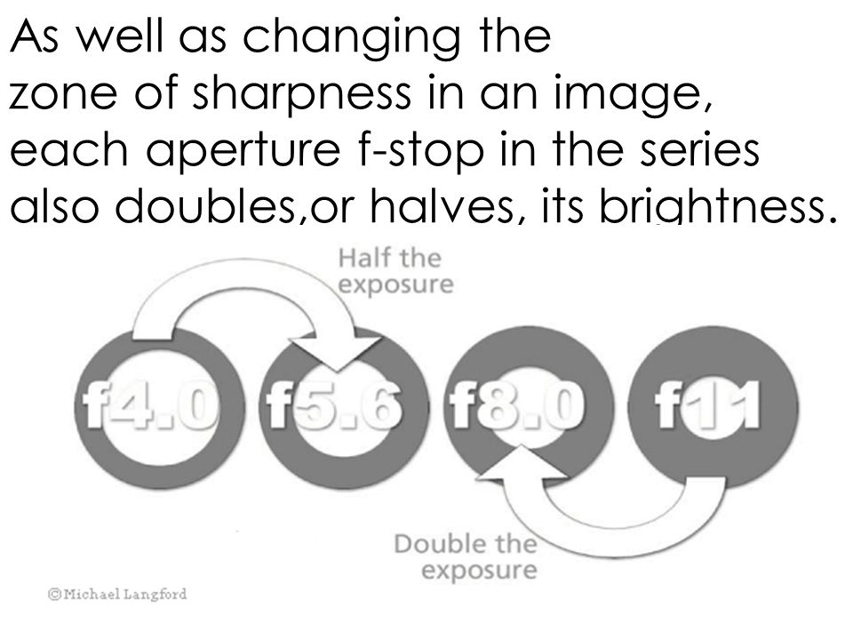 As well as changing the zone of sharpness in an image, each aperture f-stop in the series also doubles,or halves, its brightness.