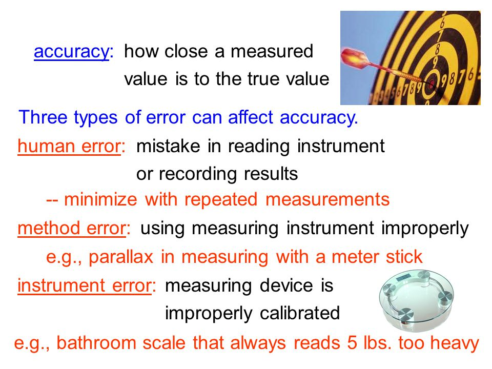 0.653 m When repeated, precise measurements yield similar answers each time. e.g., precise… imprecise… 0.652 m 0.654 m 0.7 m 0.8 m 0.6 m A good rule o