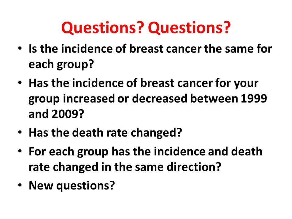 Questions. Is the incidence of breast cancer the same for each group.