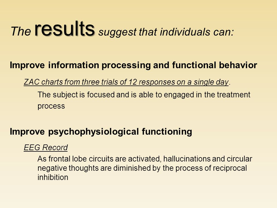 results The results suggest that individuals can: Improve information processing and functional behavior ZAC charts from three trials of 12 responses on a single day.