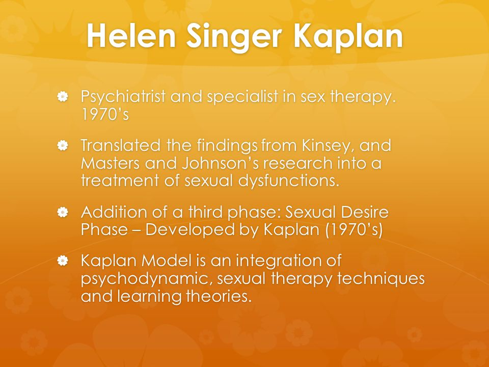 Helen Singer Kaplan  Psychiatrist and specialist in sex therapy. 1970's  Translated the findings from Kinsey, and Masters and Johnson's research int