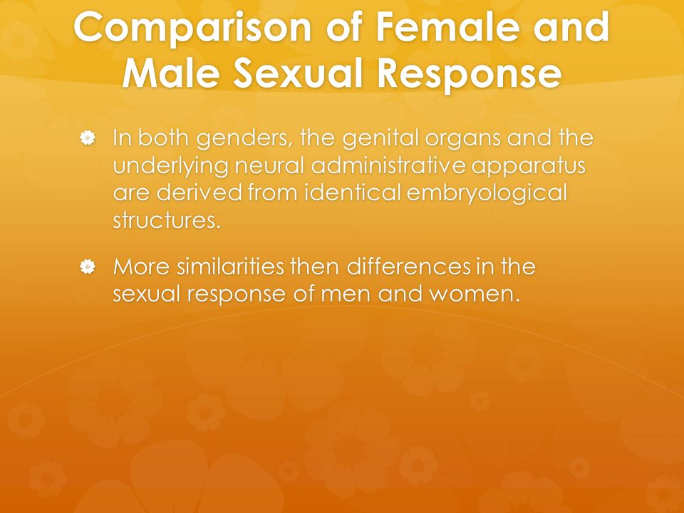 Comparison of Female and Male Sexual Response  In both genders, the genital organs and the underlying neural administrative apparatus are derived fro