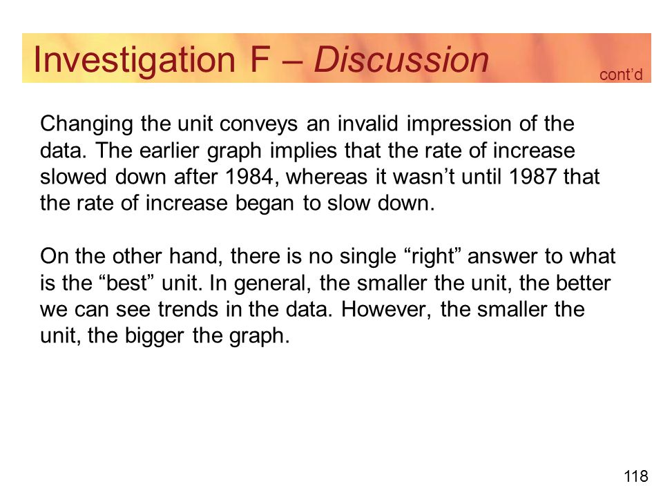 118 Investigation F – Discussion Changing the unit conveys an invalid impression of the data.