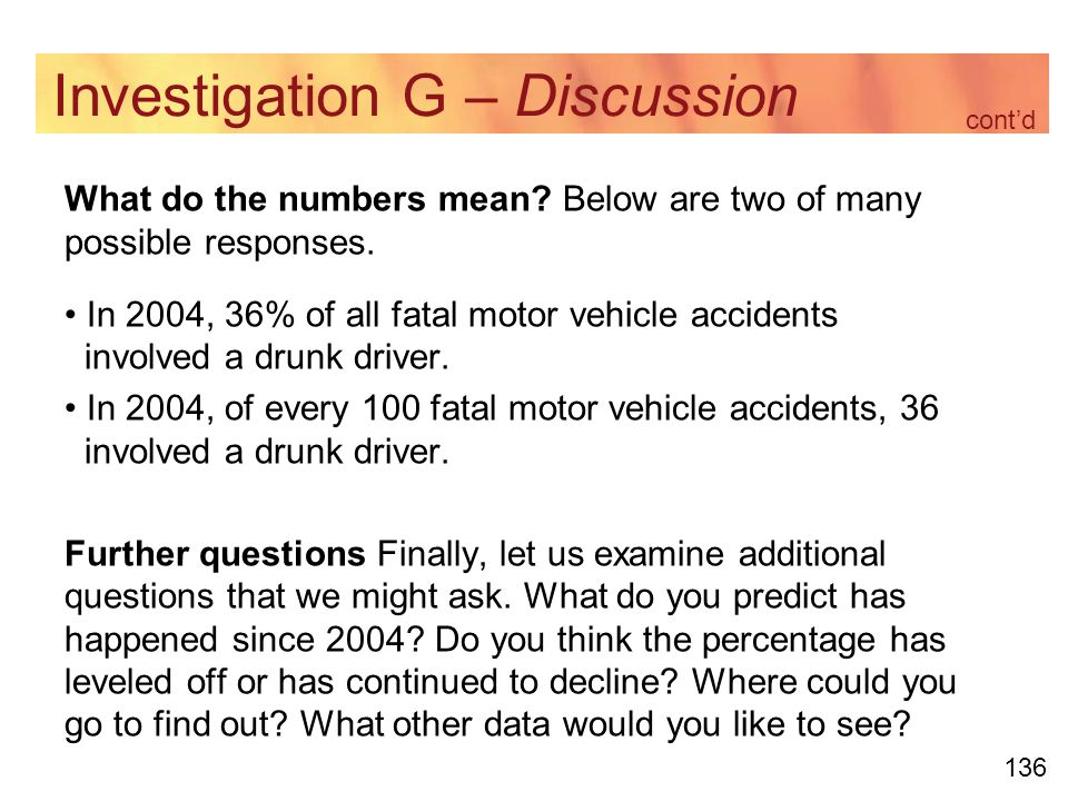 136 Investigation G – Discussion What do the numbers mean.