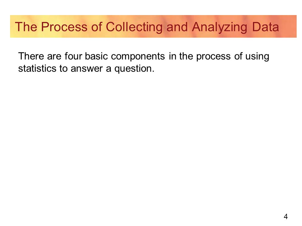 4 The Process of Collecting and Analyzing Data There are four basic components in the process of using statistics to answer a question.