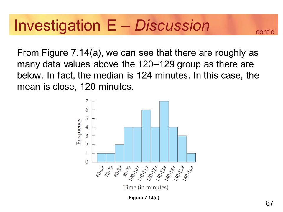 87 Investigation E – Discussion From Figure 7.14(a), we can see that there are roughly as many data values above the 120–129 group as there are below.