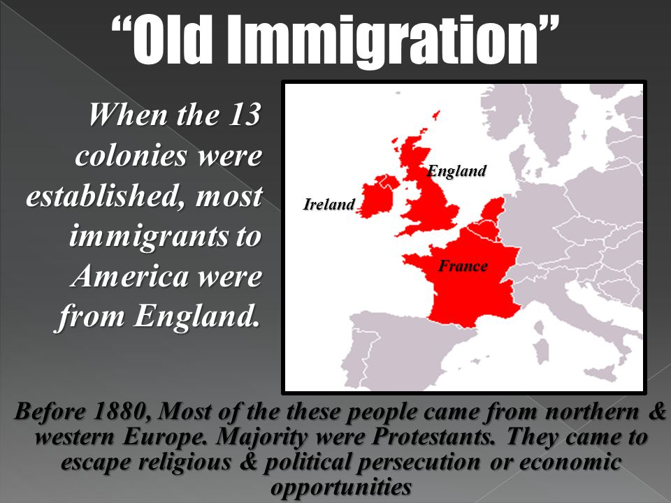 New Immigration Between 1880-1924, most immigrants coming to the United States were from southern and eastern Europe Italy Poland Greece Russia Mostly were Catholics & Jews.