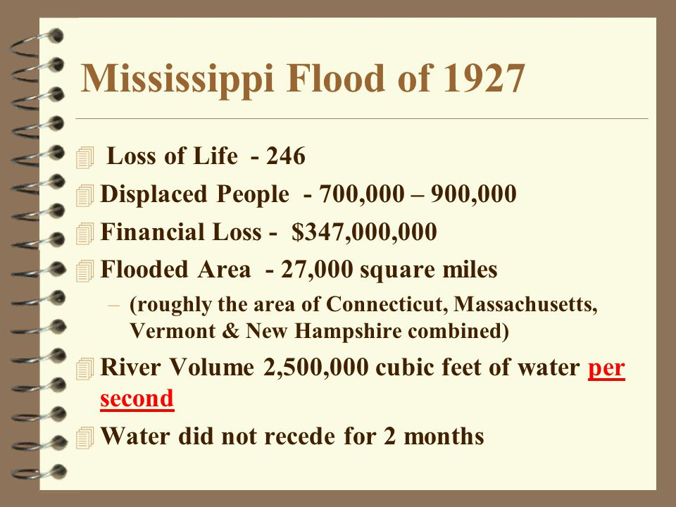 Mississippi Flood of 1927 4 Loss of Life - 246 4 Displaced People - 700,000 – 900,000 4 Financial Loss - $347,000,000 4 Flooded Area - 27,000 square m