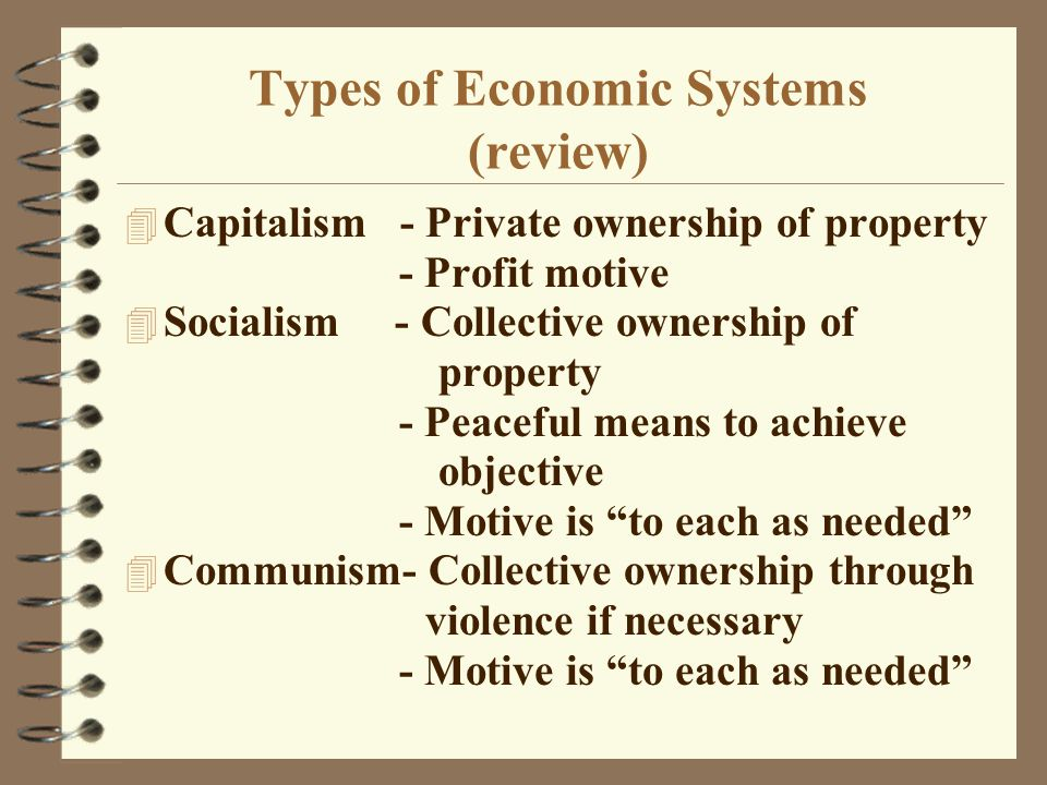 Types of Economic Systems (review) 4 Capitalism - Private ownership of property - Profit motive 4 Socialism - Collective ownership of property - Peaceful means to achieve objective - Motive is to each as needed 4 Communism- Collective ownership through violence if necessary - Motive is to each as needed
